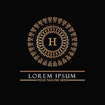 Роскошный и элегантный логотип с монограммой. ретро винтаж