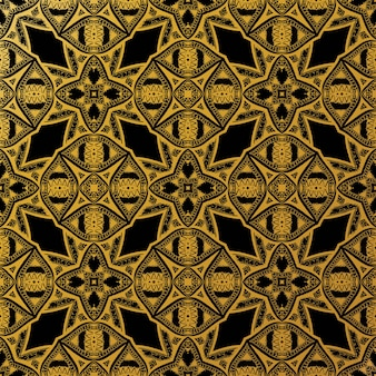 豪華なゴールドバティックシームレスパターン、バティックインドネシア語は布全体に適用されるワックスレジスト染色の技術