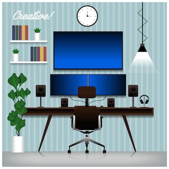 Креативная дизайнерская установка комнаты