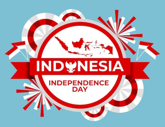赤と白の色でインドネシアの独立記念日のバナー