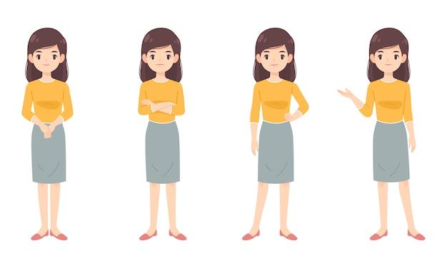 黄色のシャツでスマートな女性のセット