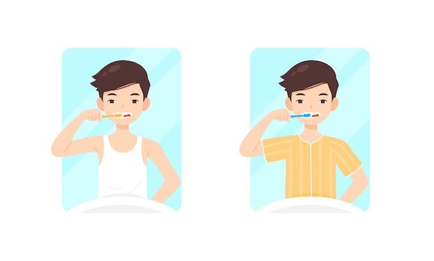 男のキャラクターが彼の歯を磨く