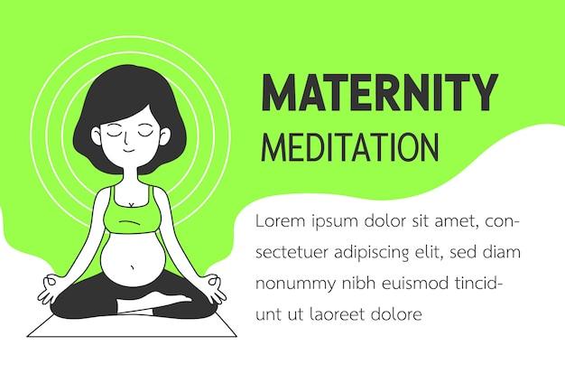 マタニティ瞑想のシンプルできれいな落書きベクトル図
