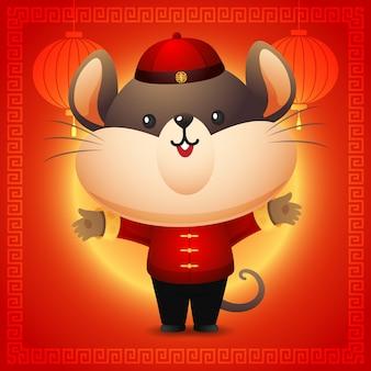 赤い中国の衣装でかわいいネズミ