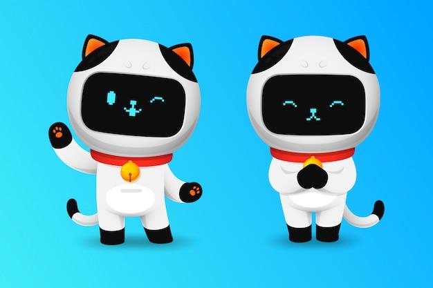 Коллекция символов милый кот робот в приветствии действий