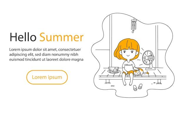 Симпатичная азиатская девушка и кошка отдыхаете дома на террасе летом с арбузом и веером векторная иллюстрация