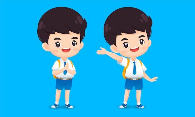 Коллекция символов милый мальчик в позе приветствия