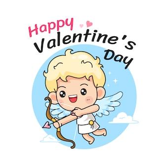 バレンタインデーのタイポグラフィとかわいいキューピッド