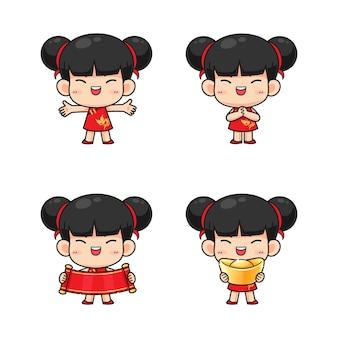 赤の伝統的な衣装でかわいい中国の女の子のコレクション