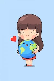 Милая девушка обнимает землю