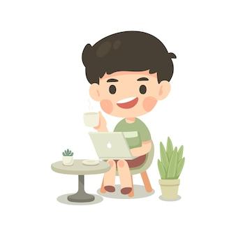 Милый человек персонаж мультфильма работа из дома