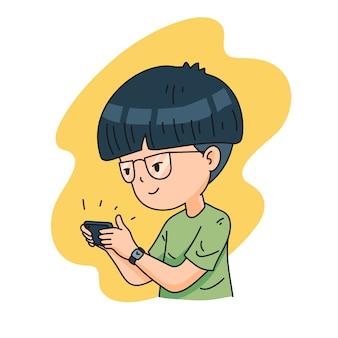 男の子のキャラクターがスマートフォンでゲームをプレイ