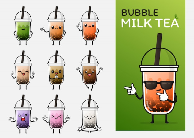 イラストやマスコットのかわいいバブルミルクティーキャラクター使用のセット