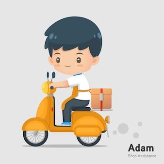 かわいい漫画ショップ支援マスコット着用エプロンでドライブオートバイのアクションを使用