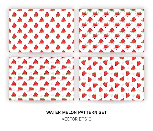 スイカのシームレスなパターン背景のセット