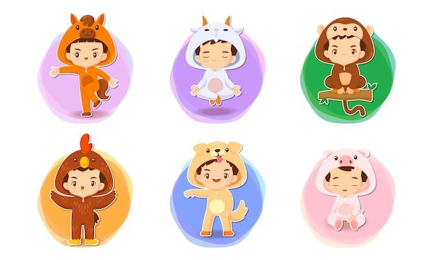 中国の黄道帯の概念図でかわいい漫画のキャラクターのセット