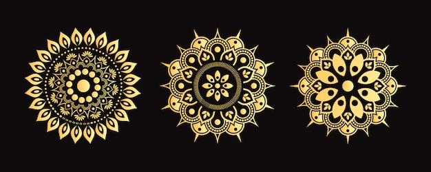 Набор золотой мандалы. коллекция декоративных цветов