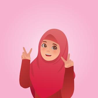 ジェスチャーの平和式かわいいイスラム教徒の少女イラスト