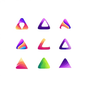 三角形セットグラデーションカラーロゴデザイン