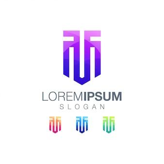 Шаблон логотипа цвета градиента буквы тм