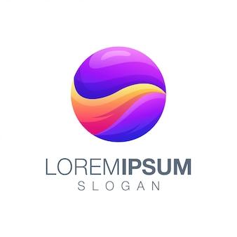 丸いグラデーションカラーのロゴのテンプレート