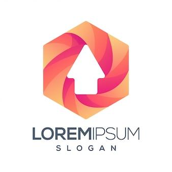 Шестиугольник стрелка градиент цветной логотип