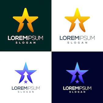 スター矢印カラフルなグラデーションロゴデザイン