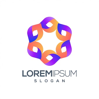 Шестиугольник люди красочный дизайн логотипа