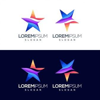 星のカラフルなロゴデザインを設定