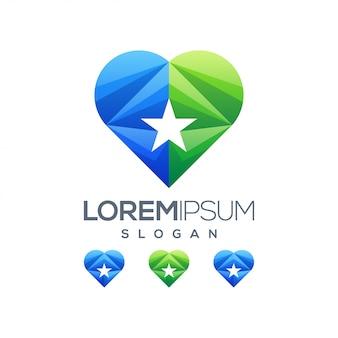 抽象的なカラフルな愛の星のロゴのテンプレート