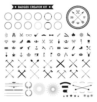 レトロバッジロゴデザインエレメントベクトルセット
