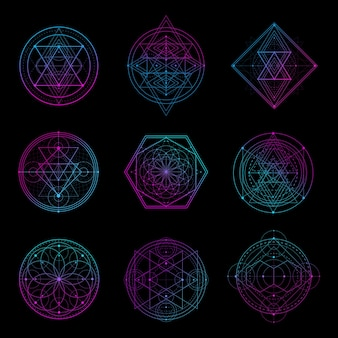 ネオンカラーの神聖な幾何学的サイン