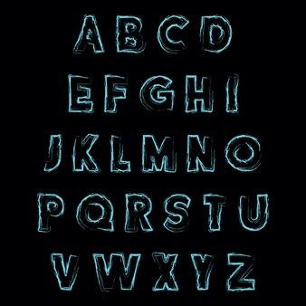 Абстрактный шрифт с рисованной текстуры вектор