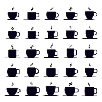 コーヒーカップアイコンベクトルセット