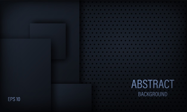 Стильный абстрактный фон в черный и синий с квадратными элементами.
