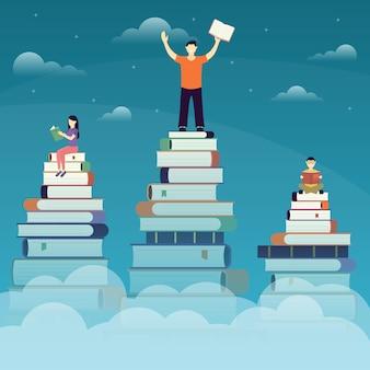 Люди читают книги, приобретают новые навыки иллюстрации