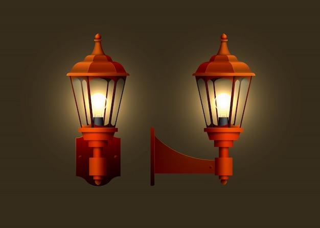 Старинные реалистичные настенные электрические лампы.