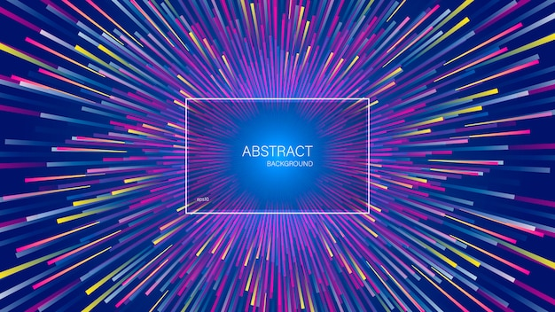 動的な線または光線の爆発。中心運動と抽象的な幾何学的な背景。