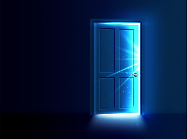 隙間から光と光線が出る半開きのドア。