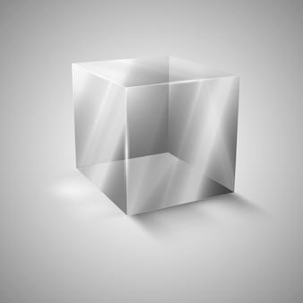 Стеклянный прозрачный куб. презентация нового продукта.
