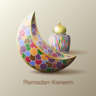 Рамадан карим исламский полумесяц и арабский фонарь.