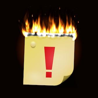 燃える紙のステッカー。