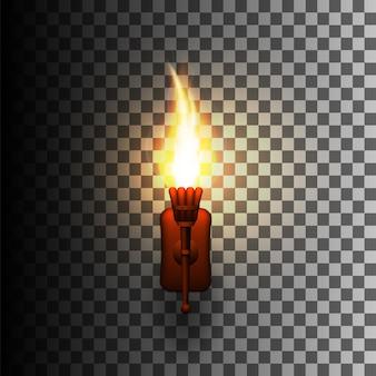Реалистичный факел с огнем на стене.