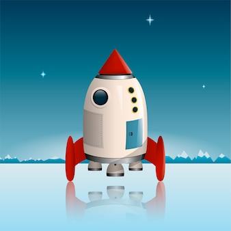 Космическая ракета корабля стоит на льду над горами и звездным небом.
