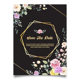黒の背景で日付の結婚式の招待状を保存します。