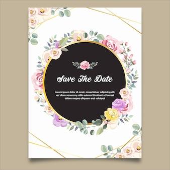 花の背景に日付の結婚式の招待状を保存します。