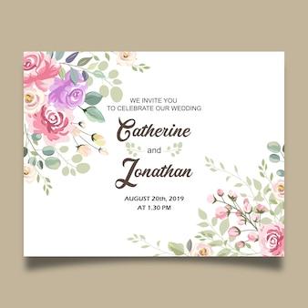 美しい結婚式の花の招待状