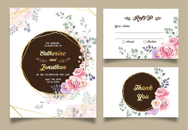 春の花の結婚式の招待状
