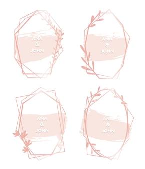 ピンクの六角形の水彩画フレームセット