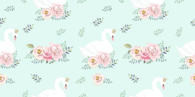 シームレスな花柄のかわいいガチョウ